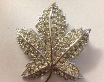 Silver Brooch with Clear Rhinestones