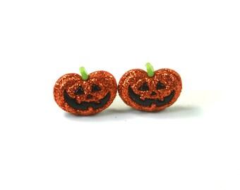 Pumpkin earrings, Pumpkin studs, Orange earrings, Sparkly earrings, Fruity earrings