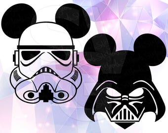 Star Wars Stormtrooper Darth Vader SVG DXF Mickey Mouse ears Cricut Design Space Cameo Silhouette Studio Vinyl Cut File Screen Printing