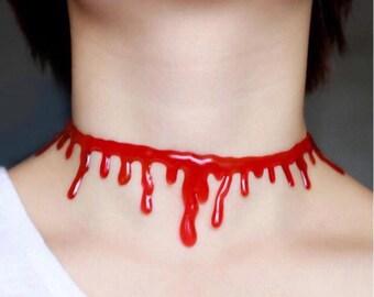 Halloween blood drip choker necklace