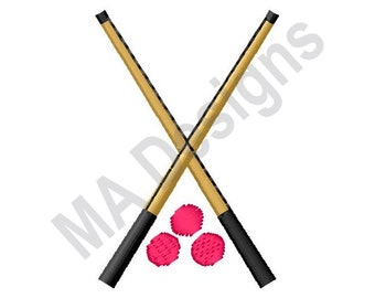 Pool Cues - Machine Embroidery Design, Pool Billiards