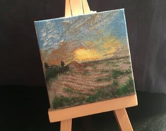 Cute mini canvas painting and mini easel!