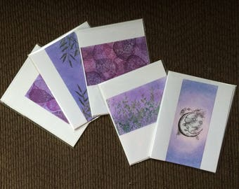 SALE! Set of 5 blank cards, individually handmade: fine card, note card, original, artistic, SKU BLA2SET2