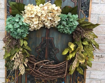 Everyday Hydrangea Wreath, Front Door Wreath, Indoor Wreath