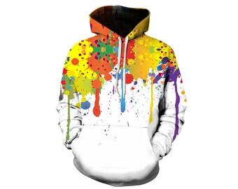 Paint Splat, Paint Hoodie, Painted Sweatshirt, Painting Clothes, Hoodie Art, Hoodie Pattern, Pattern Hoodie, Hoodie, 3d Hoodie - Style 2