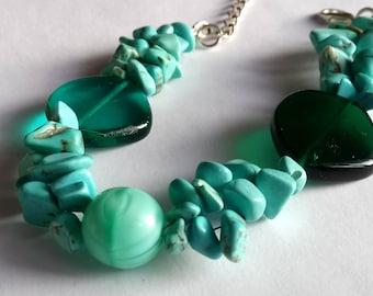 Summer ocean, turquoise, gemstone, glassbeads