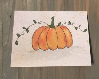 Pumpkin Watercolor Note Card