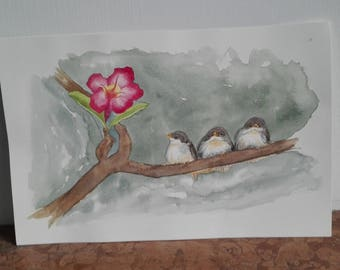three little birds with pink flower, original watercolor painting