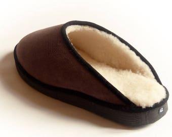 Mules man coffee Sheepskin leather