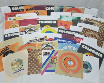 Jukebox Vinyl Records 45 RPM PICK Any 10 from 50 for 20 Dollars Rock Pop 60s, 70s & 80s Original Slipcover Record Lot