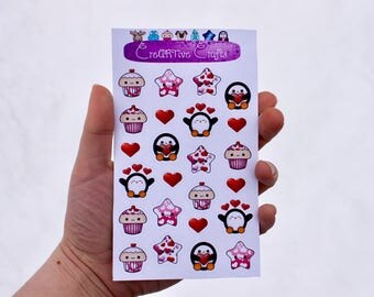 Valentine's Day Sticker Sheet || 24 Piece || Stationary || Cute || Hearts ||