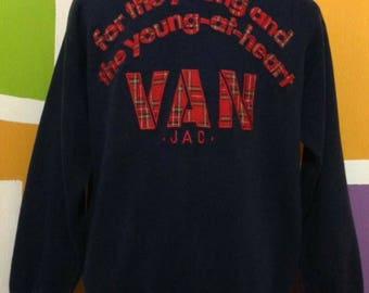 Vintage Van Jac Big Logo Sweatshirt Pullover Spell Out Embroidered Dark Blue Colour Medium Size