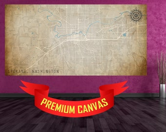 SPOKANE Washington CANVAS Map Large Horizontal Wall Art Map Spokane WA Art City Street Map of Spokane Street Map of Spokane Wa Usa Map Art
