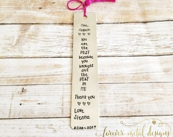 Personalized Hand Stamped Bookmark Teacher Bookworm