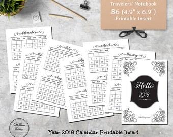 Year 2018 Calendar, 2018 Printable Yearly Calendar, B6 Inserts Printable, B6 TN Inserts, Travelers Notebook Insert B6, Monthly Calendar 2108