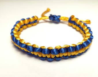 Satin blue and orange bracelet