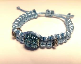 Light blue satin with blue pearl bracelet