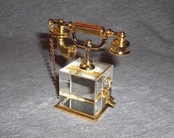 Telephone - miniature collectible crystal figurine