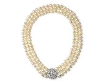Three Row Pearl Necklace