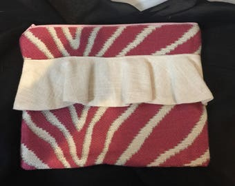 Pink & Cream Upholstery Clutch/Pouch with Ruffle