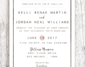 Blue/Light Plum Border Wedding Invitation - Customized and Printable (ONE SIDED)