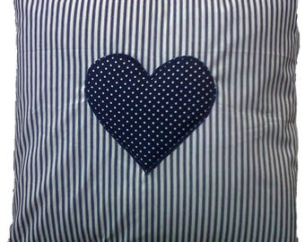 "Navy Blue Stripe with Spotty Heart Cotton Cushion Cover 16"" x 16"""