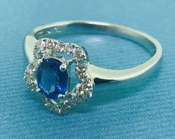 Eye-catching Kynite and Diamond Ring- 18K White Gold - 0.48 ctw  Kynite