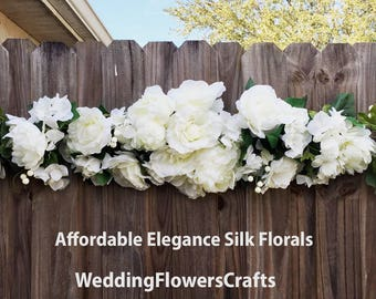 Huge 50 White Peonies Roses Hydrangea Swag Arch Decorations Reception Head Table Centerpieces Silk Wedding