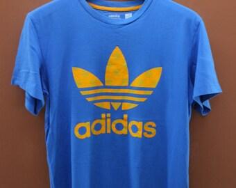 Vintage Adidas Trefoil Big Logo T-Shirt Sport Hip Hop Street Wear Top Tee Size M