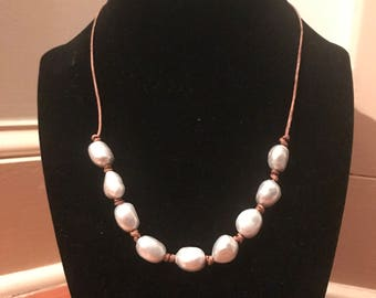 Gray Freshwater Pearl Leather Necklace