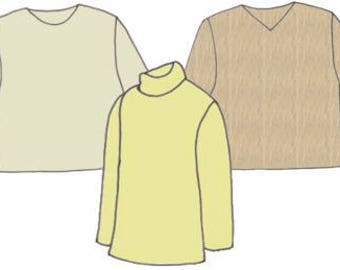 Plus Size Boy's Long Sleeve Pullover Tops PDF Sewing Pattern, Sizes 8-10-12