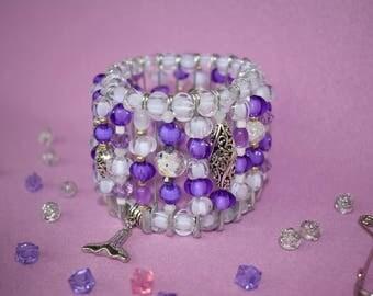 Women's purple bracelet Women's white bracelet Elastic bracelet Beaded bracelet Stretch bracelet Talisman Winter gift wife Christmas jewelry