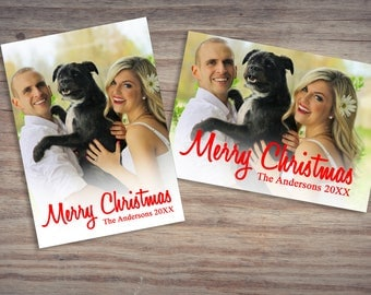 Photo Christmas Cards, Red, Merry Christmas, Modern Christmas Card, Photoshop Template, 5x7 Christmas Photo Cards, Digital Christmas Cards