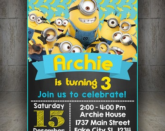 MINION invitation, minion birthday, minion party, minion birthday party, minion birthday invitation, minion party invitation, Minion Invite