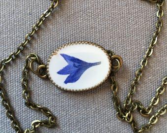 Dainty bronze oval choker pendant with real Bachelor Button petal