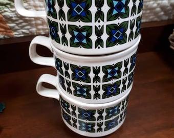 Royal Alma Retro Green/Blue Print Mugs