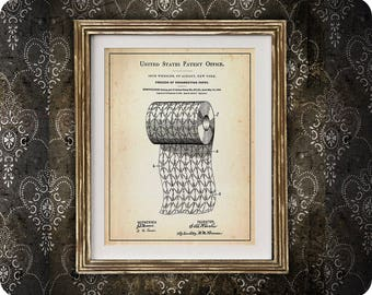TOILET PAPER | 1893 | Patent Print | Process of Ornamenting Paper Print | Funny Bathroom Print | Humorous Toilet Art | Housewarming Gift