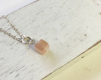 Peach moonstone,moonstone earrings,minimalist jewelry,moonstone charm,moonstone dangle,peach cube,birthday gift,dainty necklace,gift for her