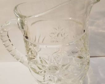 Anchor Hocking Prescut Pitcher EAPC Syrup Pitcher Star of David Pattern circa 1960