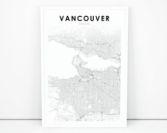 Vancouver Map Print, British Columbia BC Canada Map Art Poster, City Street Road Map Print, Nursery Room Wall Office Decor, Printable Map