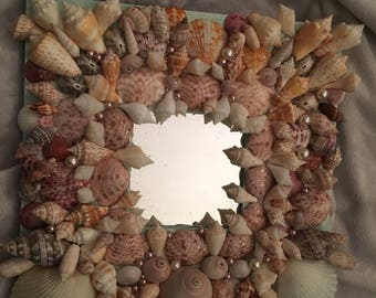 "8x8"" shell covered mirror"