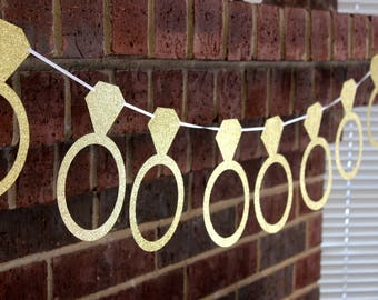 Ring Garland, Engagment Ring, Ring Banner, Wedding Garland, Wedding Decor, Bridal Shower Decor, Custom Garland, Custom Glitter Banners