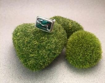 Green Chrysocolla in serling silver ring