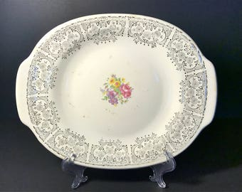 "French Saxon China Co ""Silver Symphony "" Platter"