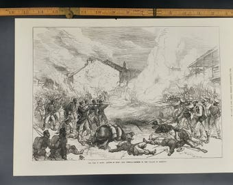 War in Spain 1874 Defence of the Village of Abarvuza Large Antique Engraving