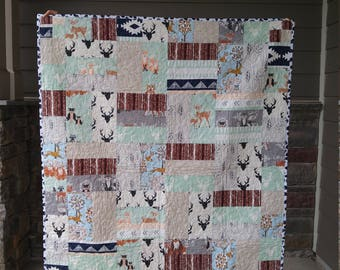 READY TO SHIP Gender Neutral Woodland Animal Baby Quilt