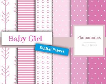 Digital Paper Baby Girl, DIN A4 PDF + JPG (300 dpi) instant download!
