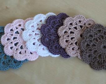 Crochet Cotton Coasters- Set of 4