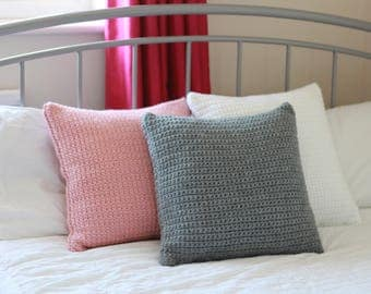 Crochet Chunky Cushion with Wool- Grey