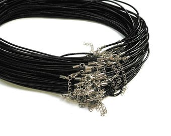 18 Inch Leather Cord Necklace, Cord Necklace, Black Cord Necklace, Adjustable, 2 pcs
